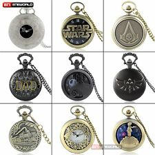 Vintage Steampunk Retro Pocket Watch Quartz Pendant Necklace Gift Antique Mens