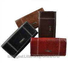 NEW Ladies LONG Grained Flap Over Faux LEATHER PURSE WALLET by Lorenz