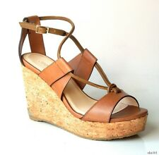 new $575 JIMMY CHOO 'Nelson 100' tan leather X-strap cork logo wedges shoes