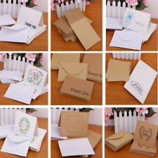 50pcs Blank Paper Note Thanks Cards Envelopes Greeting Wedding Party Reception