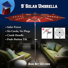 6.5/8/9' Solar Light Patio Umbrella Tilt Aluminum Sunshade Outdoor Market Garden