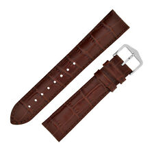 Hirsch LOUISIANALOOK Alligator Embossed Leather Watch Strap and Buckle in BROWN