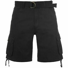 Lee Cooper Mens Belted Cargo Shorts Trousers Pants Bottoms Cotton Warm