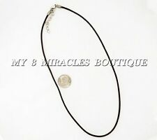 """Thin Leather Cord NECKLACE 2 mm DIY Adjustable 17"""" 18"""" Teens Girls Plain Empty"""