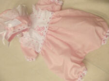DREAM BABY PINK  TEDDY   ROMPER & FRILLY BONNET  NB 0-3 3-6 MONTHS REBORN DOLLS