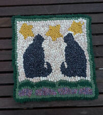 CATS WITH STARS Rug Hooking KIT WITH #8 CUT WOOL STRIPS