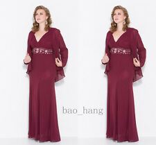 Wine Chiffon Plus Size Mother of Bride Dress Suit Long Jacket V Neck Formal Gown