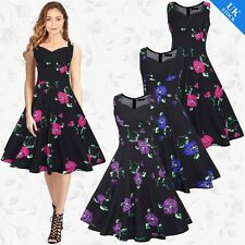 PLUS SIZE Vintage Women Ladies 60s Swing Pin Up Evening Party Cocktail Tea Dress