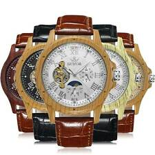 Moon Face Mechanical Automatic Wrist Watch Skeleton Men Brown Leather Dial Sport
