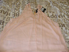 BNWT LADIES BLUSH COLOUR TOP WITH GOLD DRESS NECKLACE ON COLLAR, SIZE 14