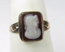 **ANTIQUE 10K YELLOW GOLD CARVED CARNELIAN CAMEO RING 2.2 GRAMS SIZE 7.75