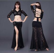 New Sexy Women Lace Belly Dance Costumes 2pcs Back off Top &long Skirt