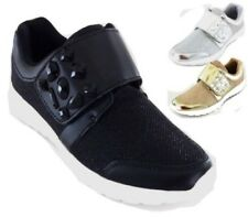 WOMENS LADIES CASUAL SPORT JEWEL STRAP FASHION TRAINERS PUMPS SHOES SIZE