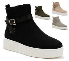WOMENS FLAT SKATER ZIP ANKLE BUCKLE TRAINERS SNEAKERS PLIMSOLLS PUMPS SHOES 3-8