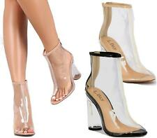 Womens Ladies Ankle Boots Clear Perspex High Heel Peeptoe Party Fashion Shoes