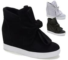 WOMENS LADIES WEDGE CONCEALED HEEL BOW KNOT SLIP ON TRAINERS ANKLE BOOTS SHOES
