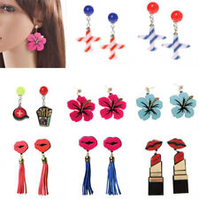 Women Charming Earrings Fashion Acrylic Red Lip Flower Tassel Dangle Earrings