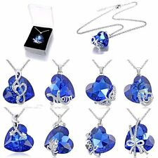 Heart Love Sapphire Crystal Pendant Necklace Women Mother's Day Gift Jewelry+Box
