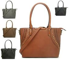 LADIES WOMEN'S FAUX LEATHER STUDDED FASHION OFFICE TOTE BAGS SHOULDER HANDBAG