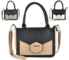 LADIES FAUX LEATHER SALLY YOUNG TOTE TWO TONE FASHION SHOULDER HANDBAG