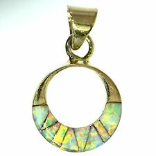 VIVID WHITE OPAL INLAY PENDANT STERLING SILVER OPEN CIRCLE BRIGHT COLORFUL