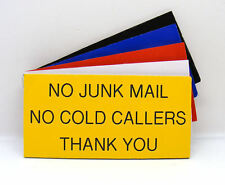Engraved Plaque No Junk Mail, No Cold Callers Letterbox Front Door Sign 100 x 50