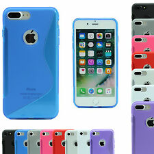 iPhone 7 / 7 Plus S-Line Soft Silicon Gel Case Rubber Cover Wave Tempered Glass