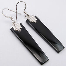 925 Sterling Silver Flat Stones Earrings, BLACK ONYX, LAPIS & More Gem Variation