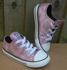 GIRLS SPARKLY PINK CONVERSE ALL STAR TRAINERS  INFANT SIZE UK 9