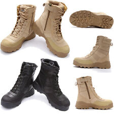 Men's Military Tactical Boots Side Zip Shoes Ankle Outdoor Combat Army Duty Work