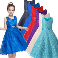Pageant Flowers Girls Dress Kids Birthday Wedding Bridemaid Gown Formal Dresses