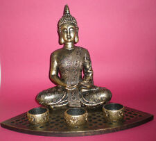 LARGE GOLD BRONZE THAI BUDDHA CANDLE SET STATUE FIGURE MEDITATION SCULPTURE