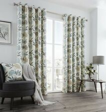 PRINTED FLORAL LEAF TEAL BLUE TAUPE CREAM LINED RING TOP CURTAINS 8 SIZES