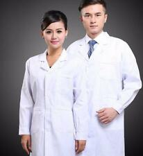 Mens Womens White Lab Coat Scrub Medical Doctor's New Lapel Collar Jackets