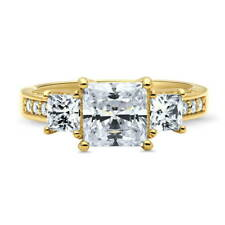 BERRICLE Gold Over 925 Silver Princess CZ 3-Stone Engagement Ring 3.12 Carat