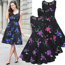Women Vintage Rockabilly Swing Dress Retro Floral Print Cocktail Party 50s Dress