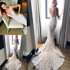 Mermaid Wedding Dresses Open Back Sleeveless Beaded Lace Bridal Gown Straps 2017