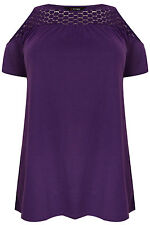 Yoursclothing Plus Size Womens Cold Shoulder Jersey Top With Lace Yoke