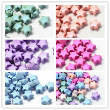 50pcs Rubberized Style Opaque Star Acrylic Beads 11x11.5x6mm hole:2mm