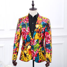 Mens Floral Printed One Button Blazer Suit Business Dress Slim Fit Coat Jackets