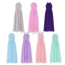 Flower Girls Halter Dress Princess Wedding Pageant Party Chiffon Tulle Long Gown