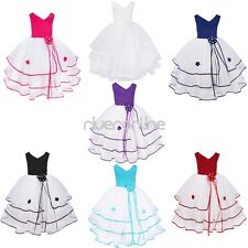 Flower Butterfly Girls Layered Tutu Dress Princess Wedding Bridesmaid Party Gown