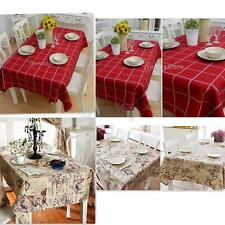 Vintage Tablecloth British Style Square/Rectangular Floral/Plaid Table Cover Mat