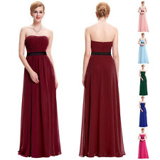 Satin Strapless Formal Dresses Prom Gown Party Cocktail Bridesmaid Evening Dress