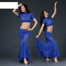 New Sexy 2017 women Shinning Belly Dance Costumes Club 2pcs Top & Long Skirt