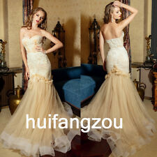 Champagne Wedding Dresses Bridal Gowns Mermaid Size 4 6 8 10 12 14 16 18 Plus