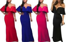 Dearlover Elegant Women Ruffle Off Shoulder Maxi Party Evening Cocktail Dress