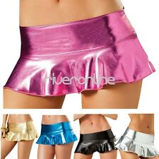 Sexy Lingerie Women Metallic Leather Wet Look Mini Dress Skirt DANCE Clubwear