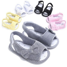 Summer Bowknot Newborn Girl Toddler Baby Soft Sole Shoes Crib Prewalker Shoes