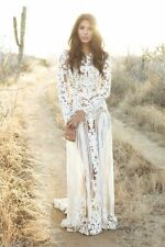 White Long Sleeve Lace Wedding Dress Bohemian Bridal Gown Sheer Open Back Custom